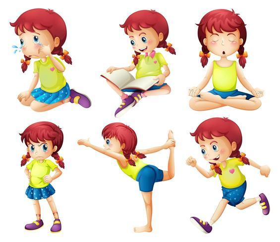 Una jovencita haciendo diferentes actividades