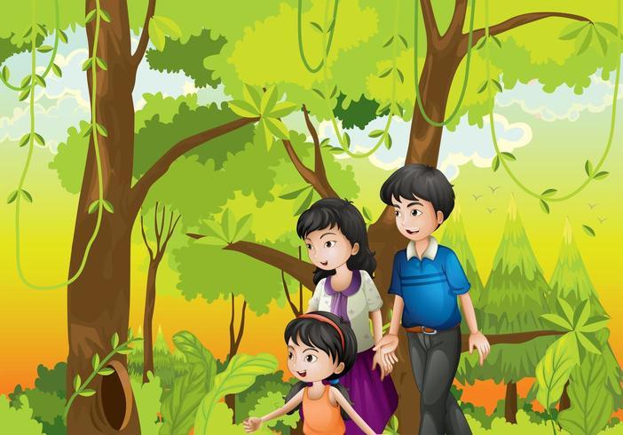 Un bosque con una familia vector