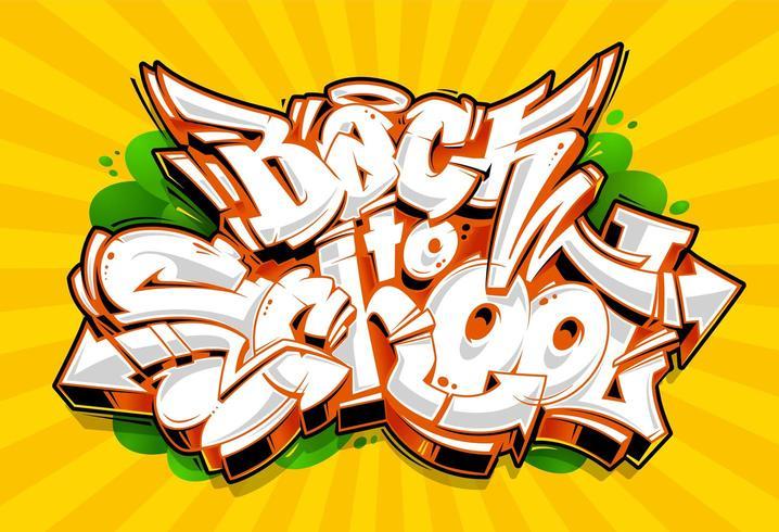 Terug naar school Graffiti belettering vector