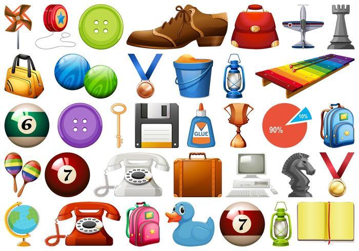 Reihe von verschiedenen Objekten