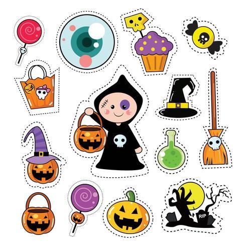 Halloween Icon Sticker Patches Set