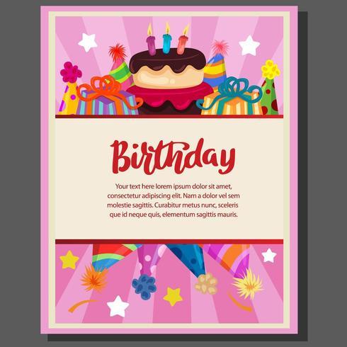 Cartel de fiesta de cumpleaños con pastel y gorro