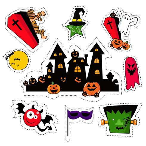 Halloween Icon Sticker Patches Set vector