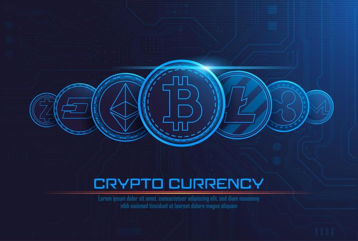 Cryptocurrency concept background - Download Free Vectors, Clipart ...