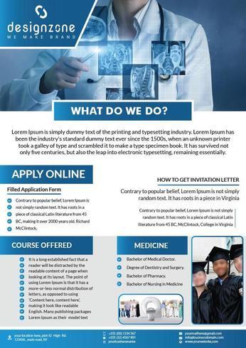 Blue Medical flyer template design