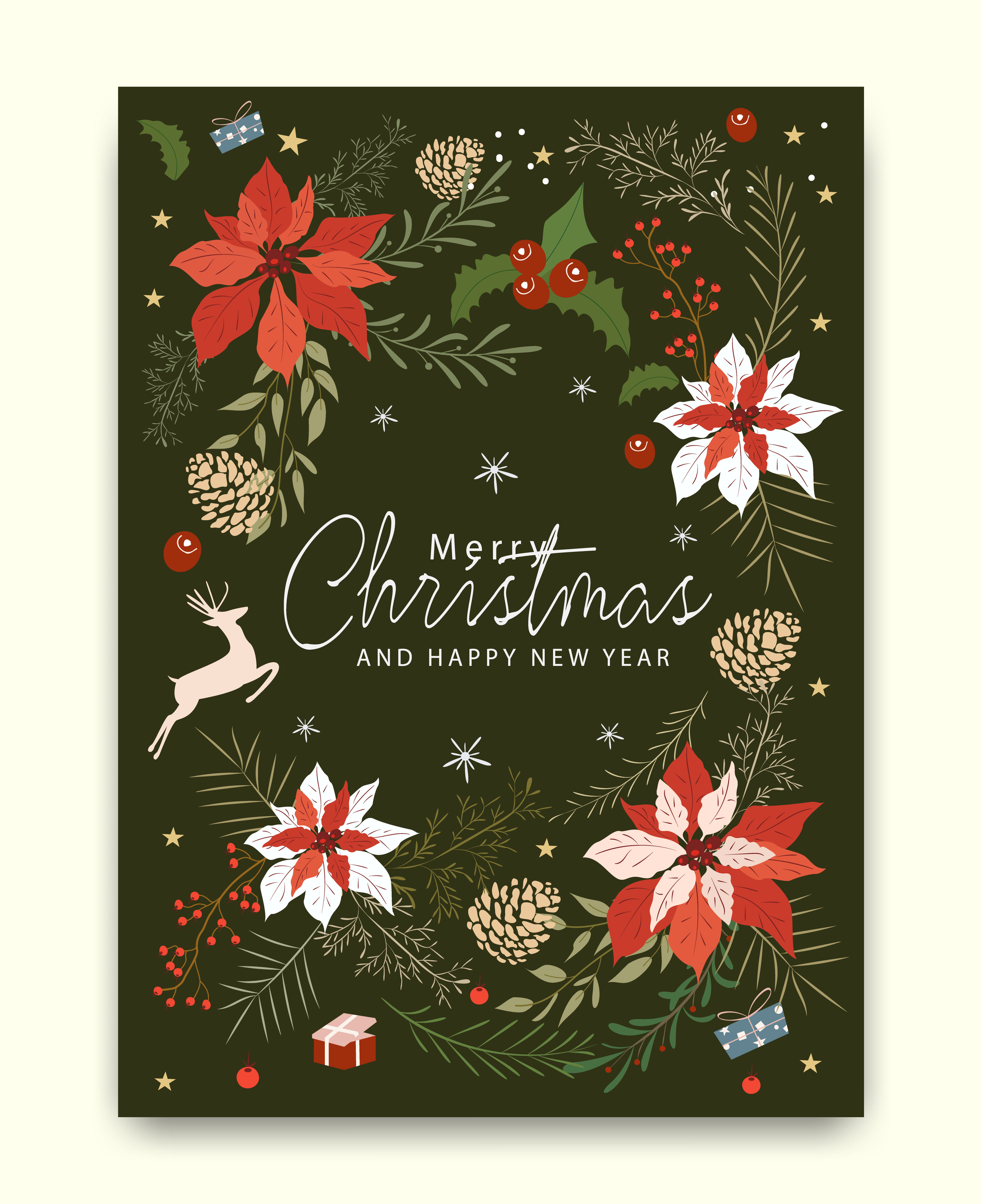 Merry Christmas greeting card pattern