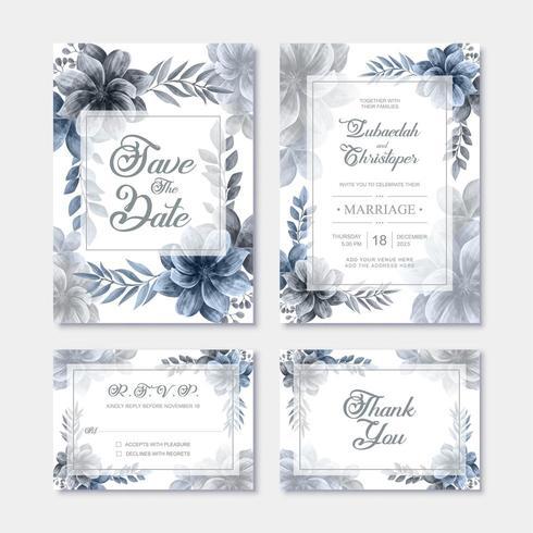 Plantilla de tarjeta de invitación de boda con decoración de flores de acuarela azul