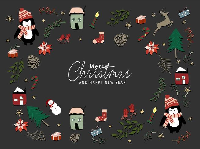 Set of cute Christmas elements