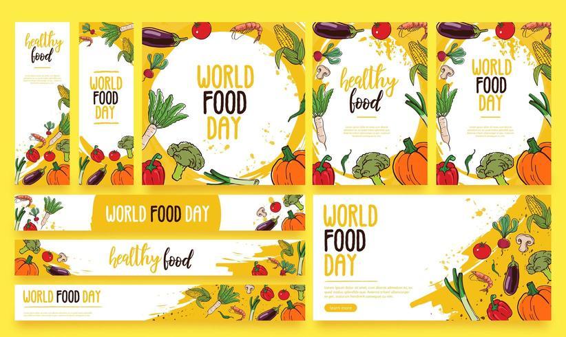 Paquete de vectores de pancartas de alimentos