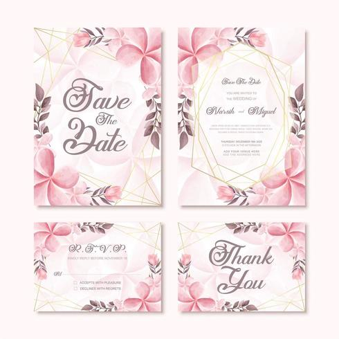 Beautiful Wedding Invitation Card Template Set With Watercolor Flower Decoration vector