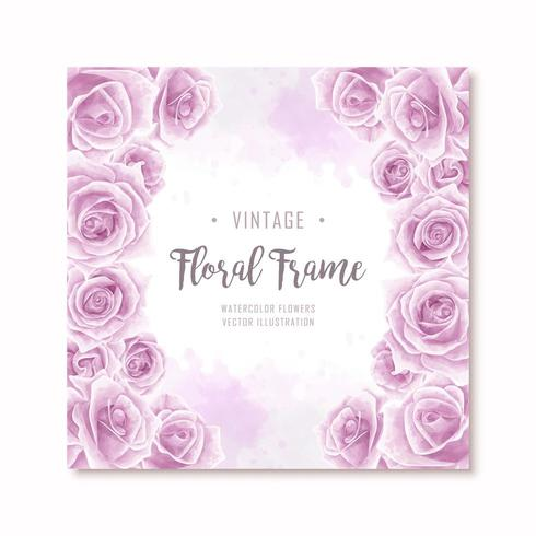 Lovely Purple Watercolor Rose Flowers Frame