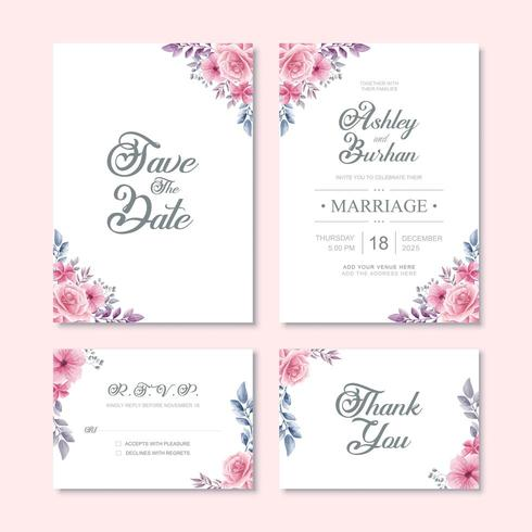 Beautiful Watercolor Flower Wedding Invitation Card Template vector