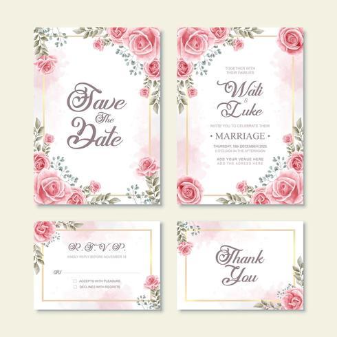 Tarjeta de invitación de boda con decoración de flores de acuarela vector