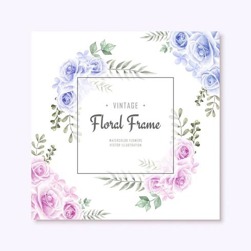 Beautiful Watercolor Blue and Pink Flowers Frame vector