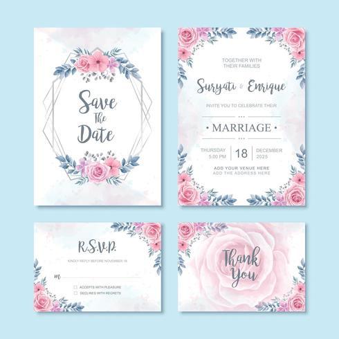 Decorazione floreale della carta dell'invito di nozze del fiore dell'acquerello