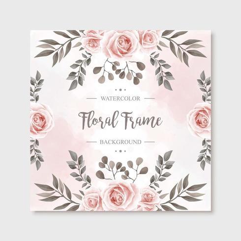 Vintage Watercolor Floral Rose Flowers Frame Background vector