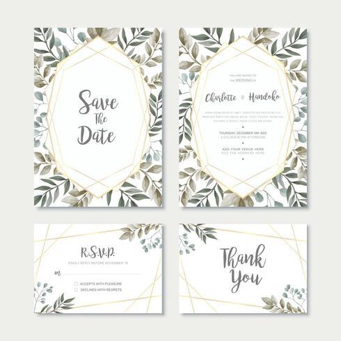 Watercolor Leaves Wedding Invitation Card Template Set