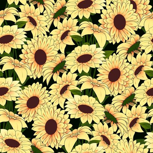 Yellow flowers in a yellow vase pattern on a dark background vector