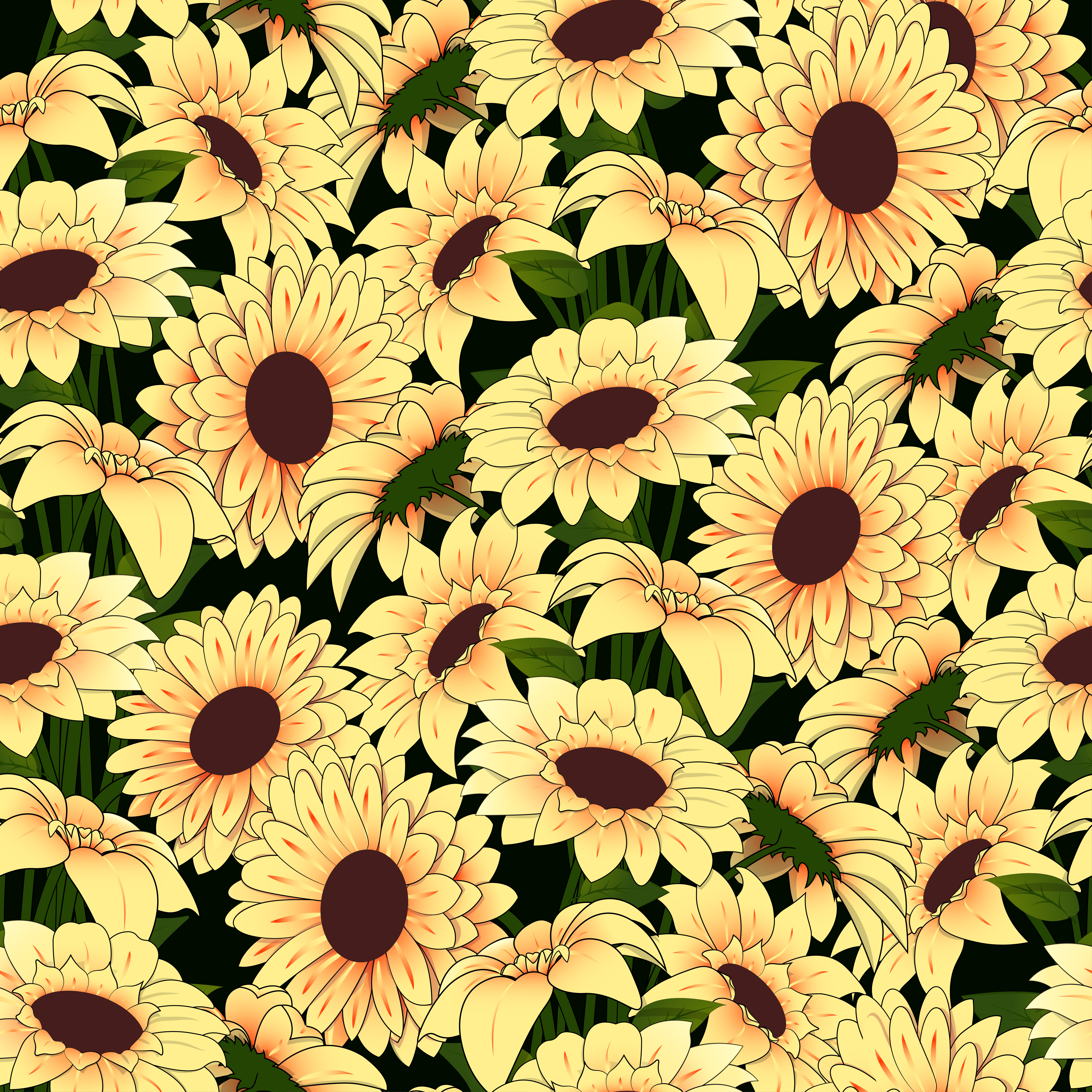 Yellow Flowers In A Yellow Vase Pattern On A Dark Background