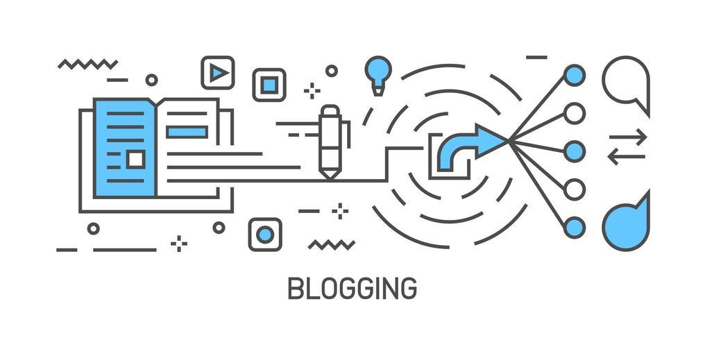 Bloggillustration och arbetsflöde. Platt linje design infographic med blå färg