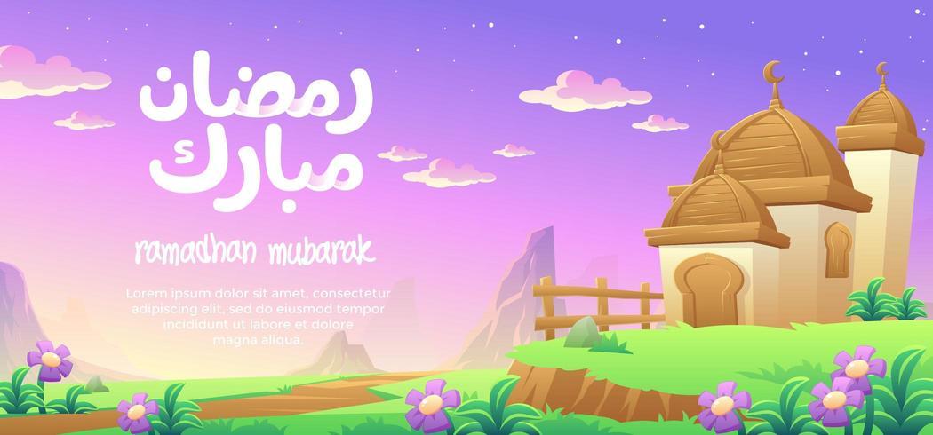 Ramadhan Mubarak com uma mesquita de cúpula de madeira nas montanhas vetor