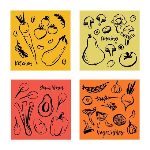 Schöne Vektorposter mit Hand gezeichnetem Gemüse.