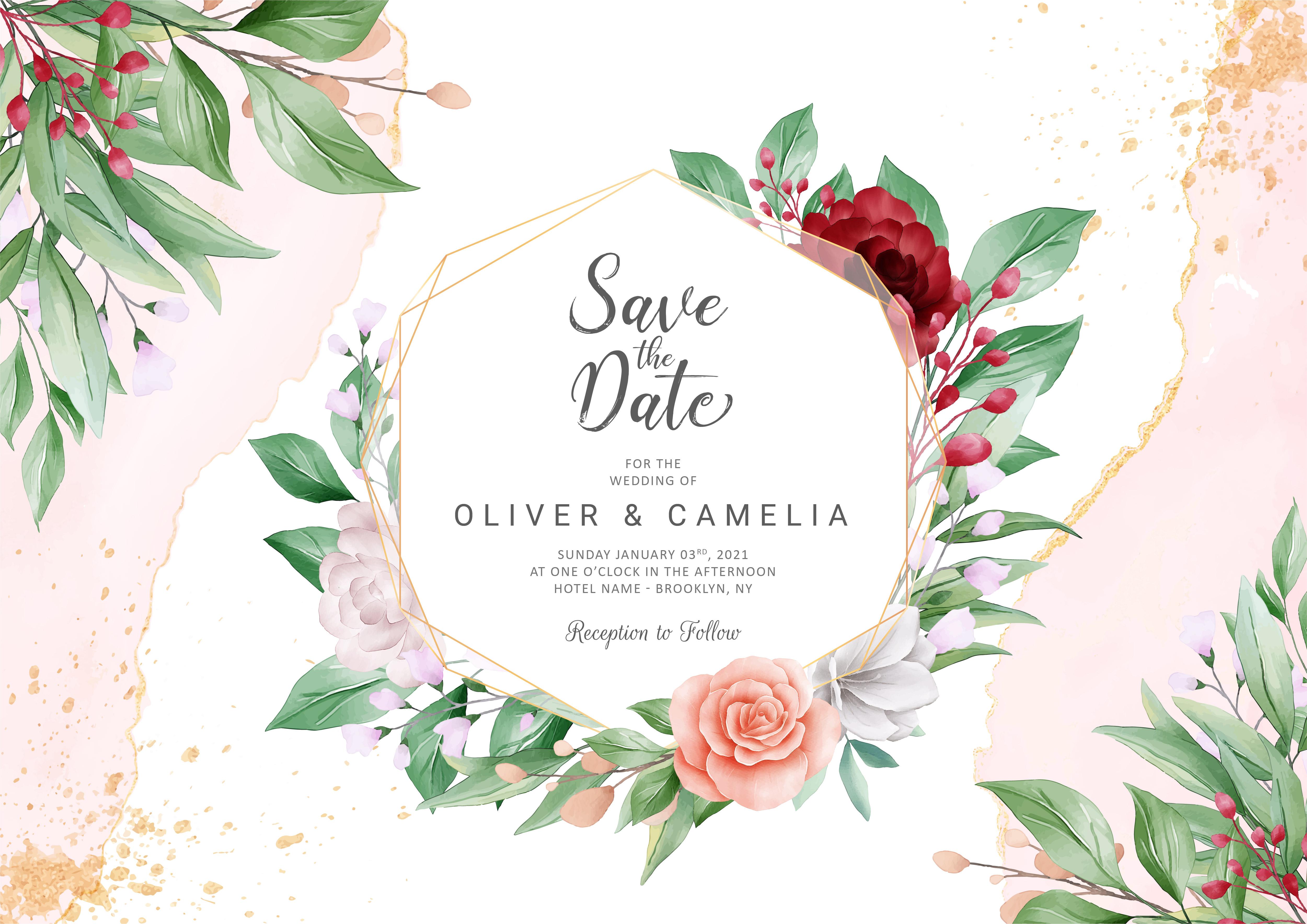 elegant abstract wedding invitation card template set