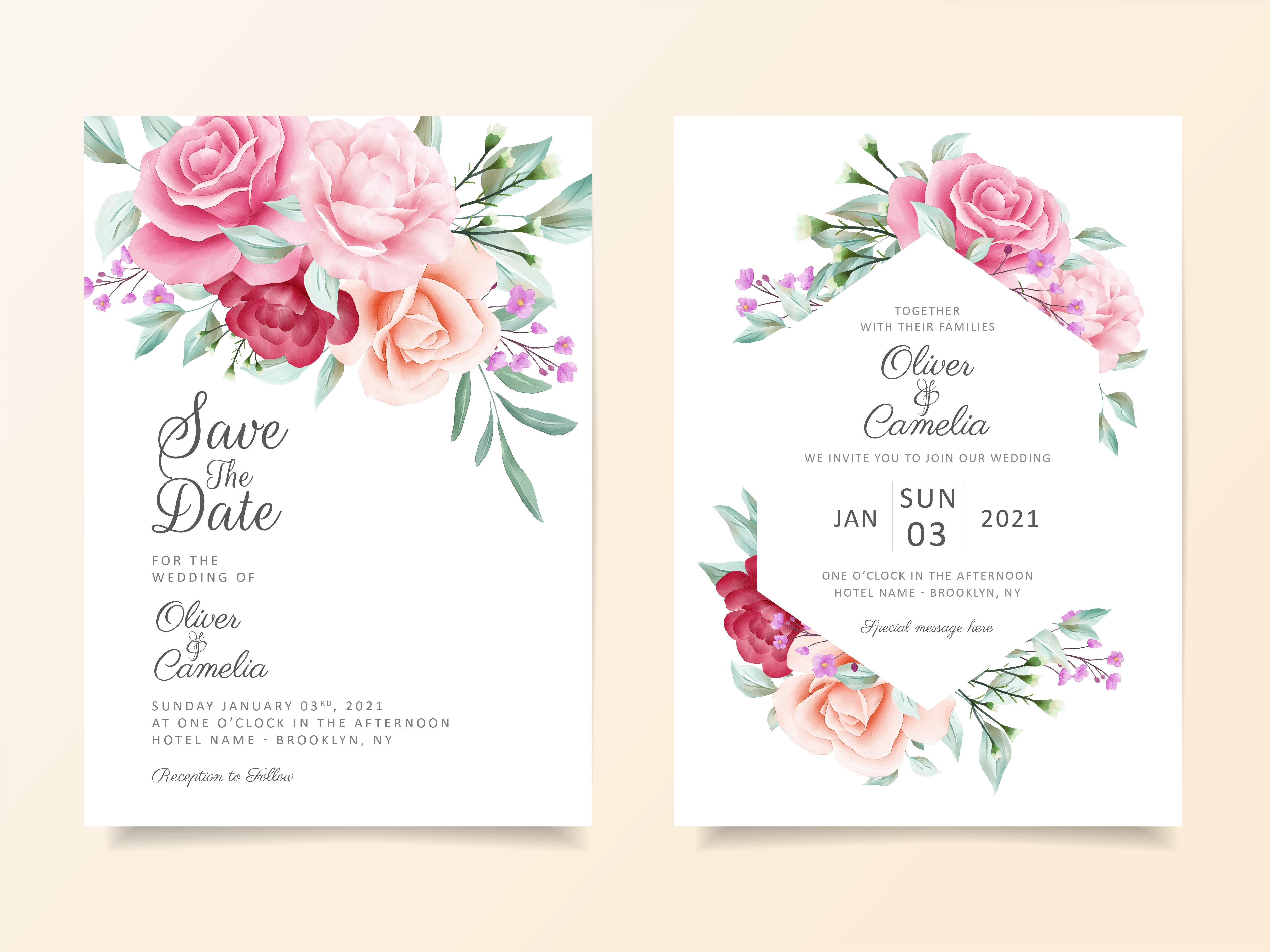 Beautiful wedding invitation card template set - Download ...