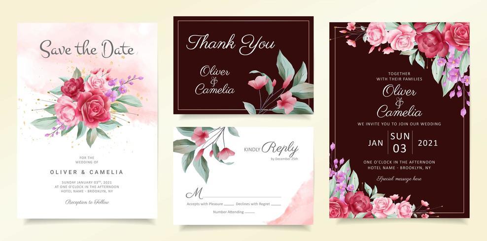 Flowers wedding invitation card template set  vector