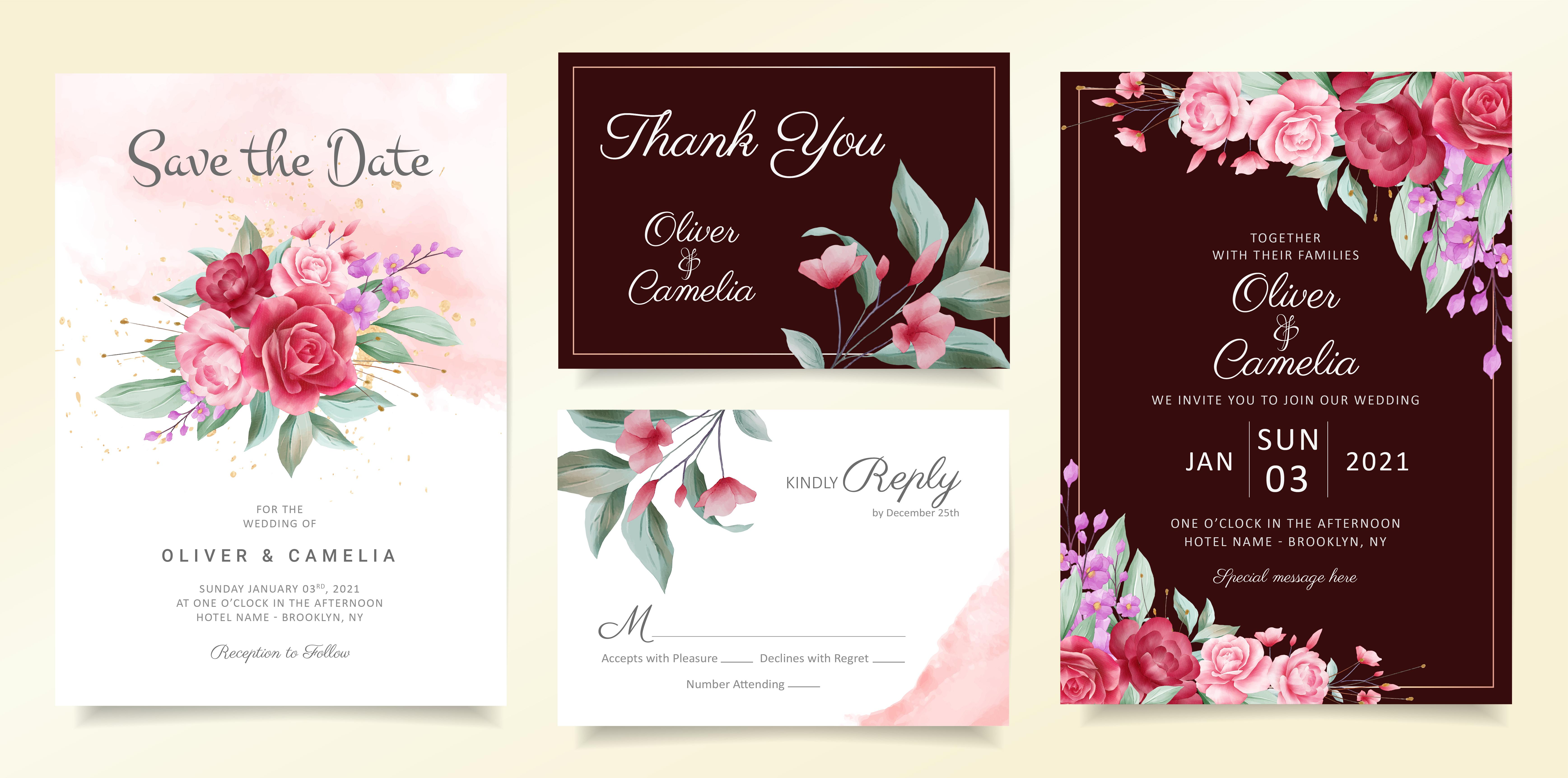flowers wedding invitation card template set  download