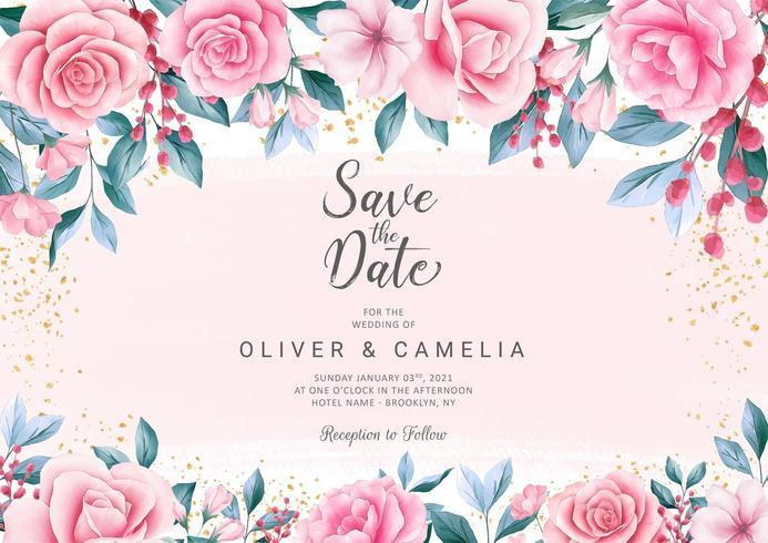 Botanic wedding invitation card template  vector
