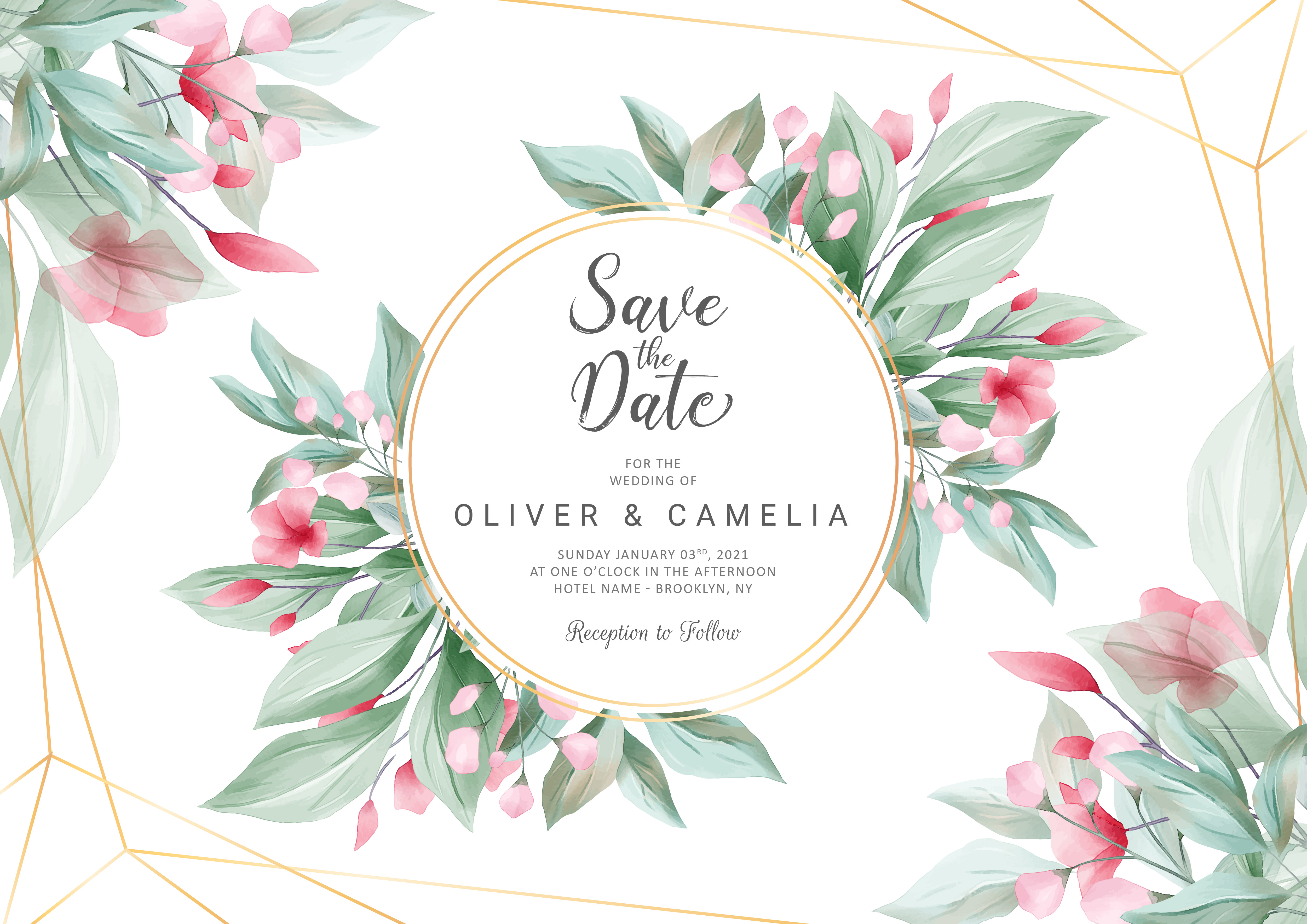 Horizontal wedding invitation card template - Download Free