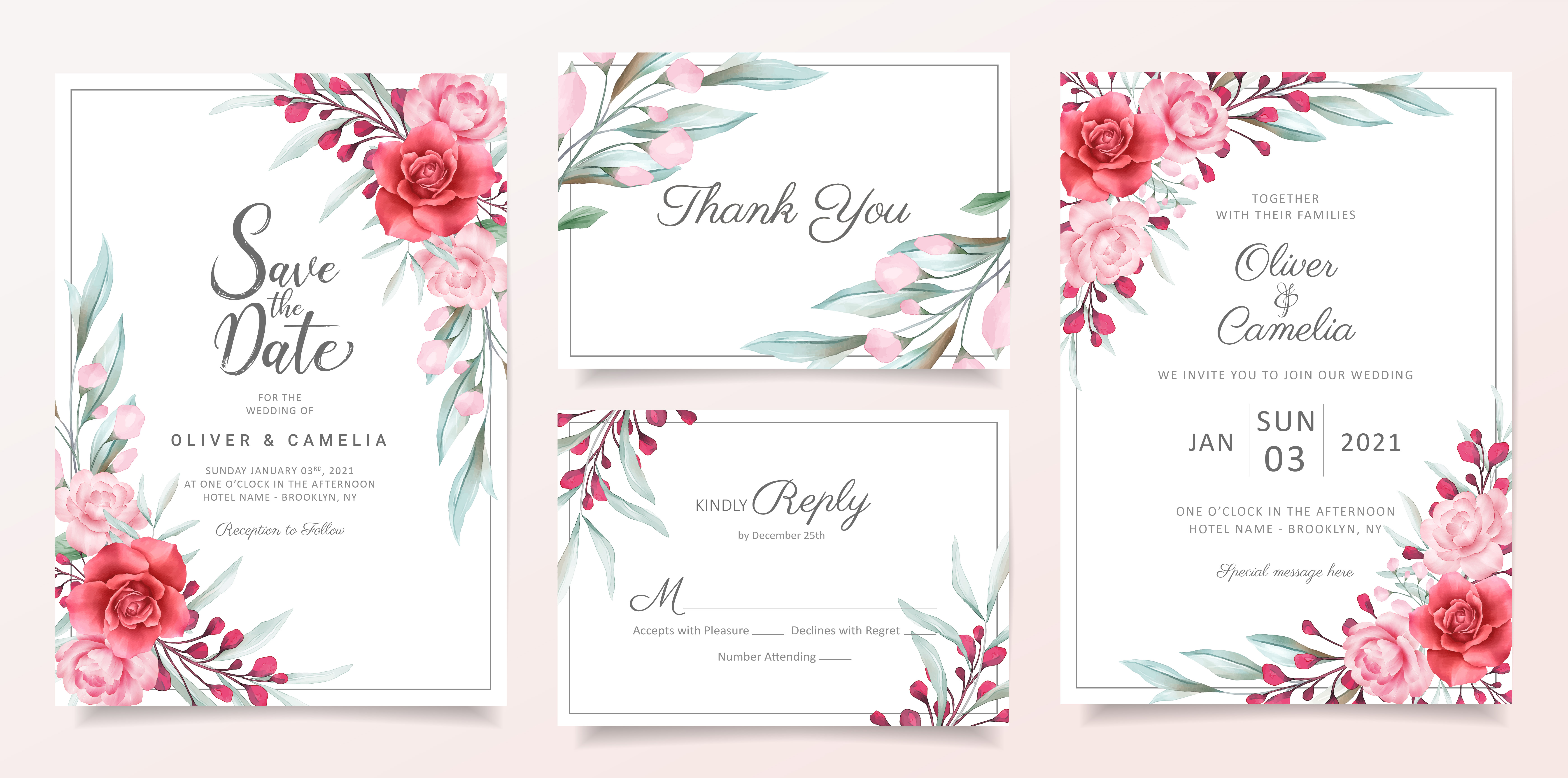 floral wedding invitation card template set  download