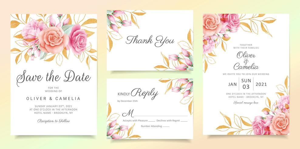 Flowers with glitter leaves wedding invitation card template set vector