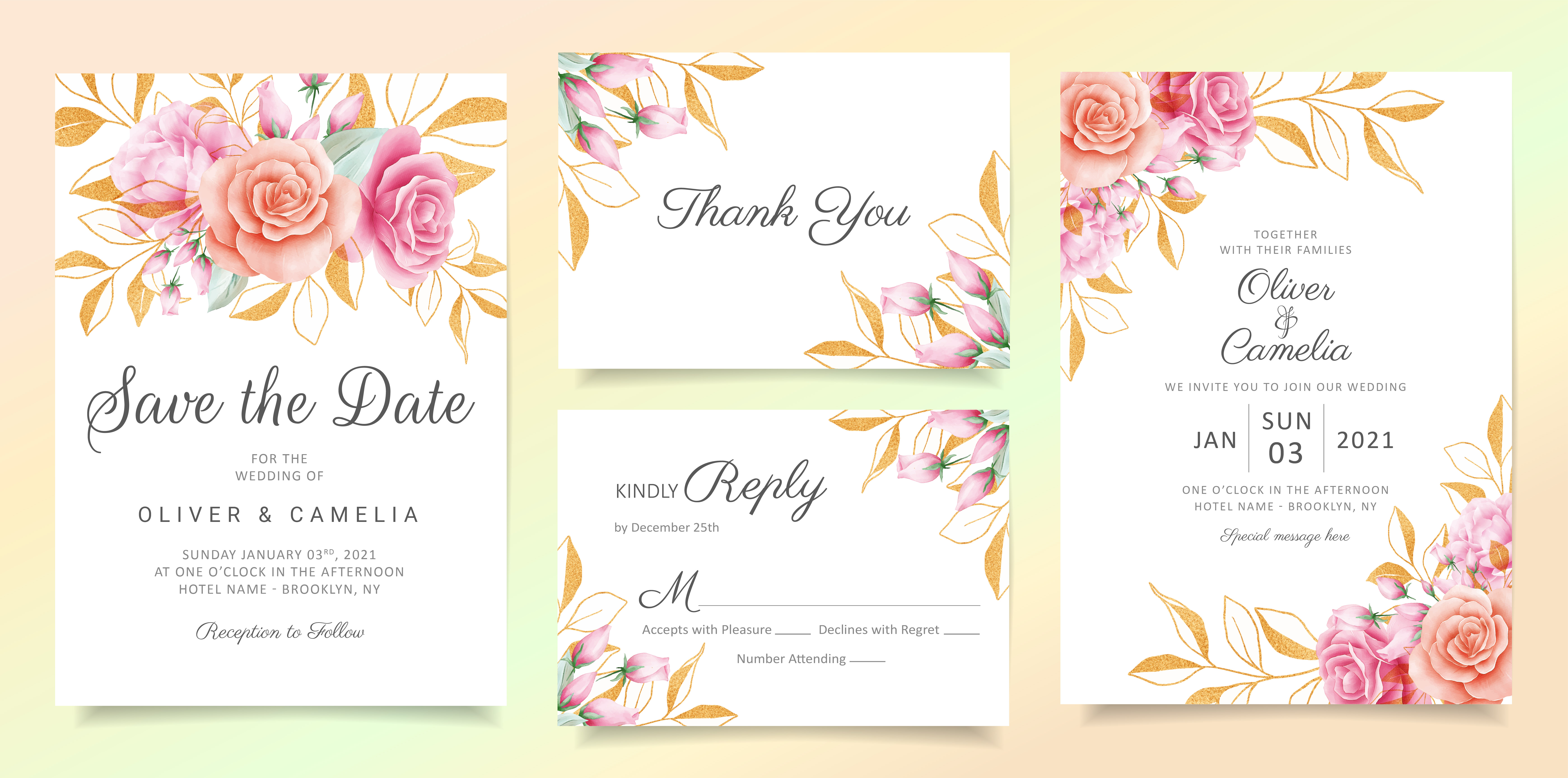 flowers with glitter leaves wedding invitation card