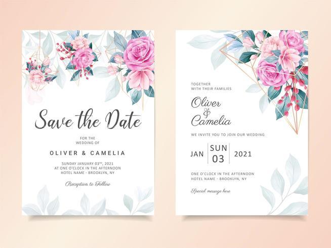 Geometrisk blommig bröllopinbjudan för akvarellmall vektor