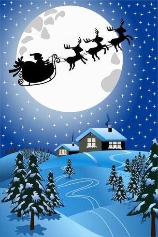 Snowy Christmas night scene