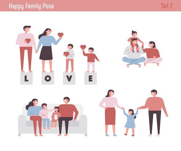 Conjunto de caracteres de familia feliz. vector