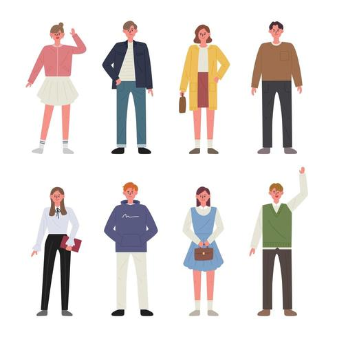 Set of men and women characters wearing spring clothes.