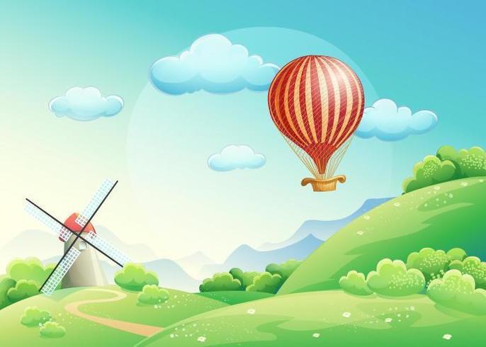 Illustration av fält med en väderkvarn och en ballong
