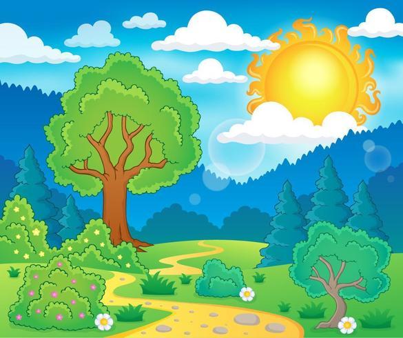Dibujos animados coloridos selva y montañas