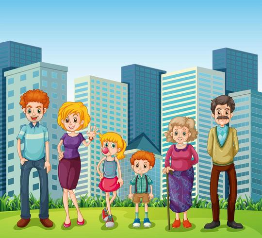A family in front of the tall buildings in the city vector