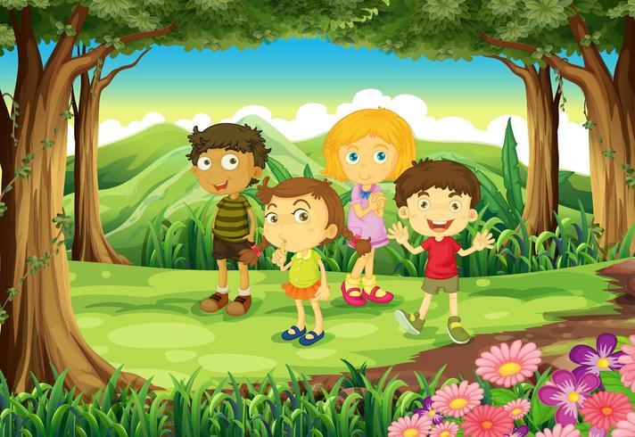 Vier Kinder im Wald