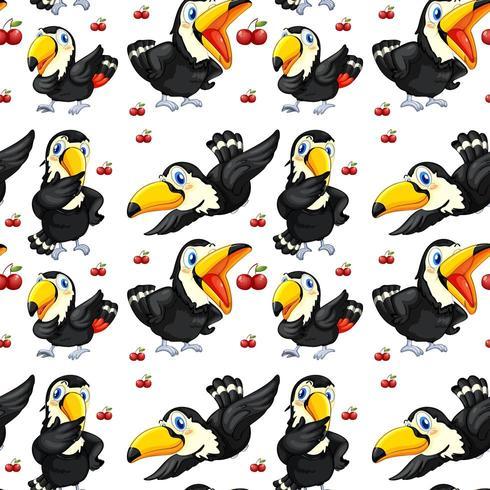 Nahtloses Tukan und rote Kirschen
