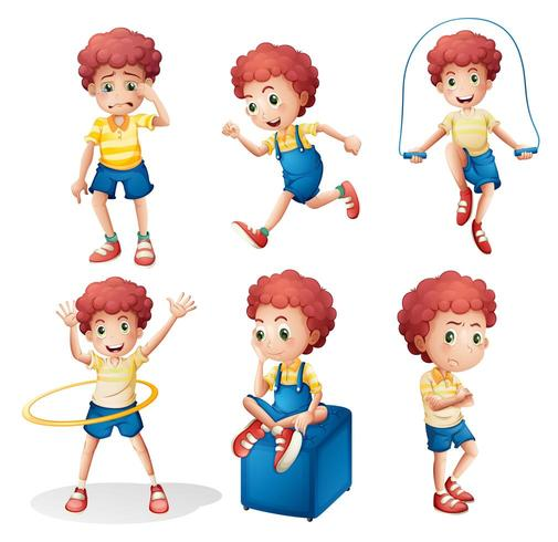 Different activities of a young man vector