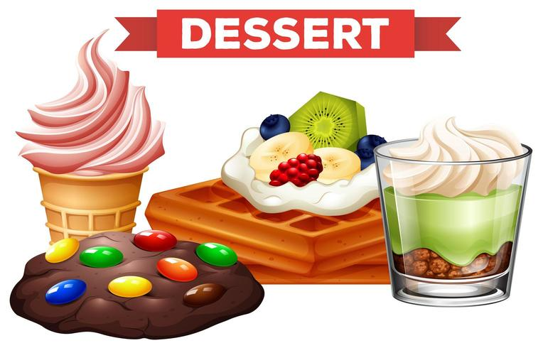 Different desserts on white background vector