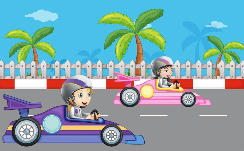 Girls car racing