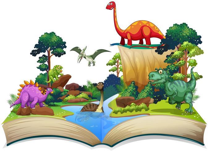 Livro de dinossauro na floresta vetor