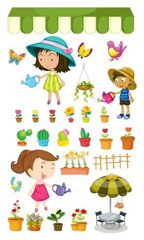 Niños regando las plantas