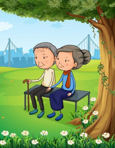 Två gamla par i parken